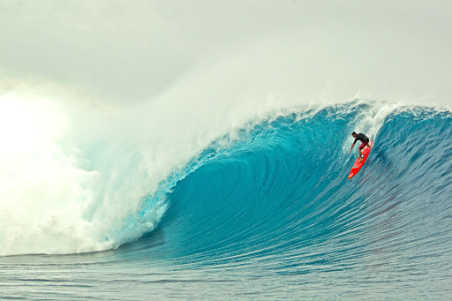 Ian Walsh surfs big waves off Tavarua Island in Fiji on 7 June 2012.