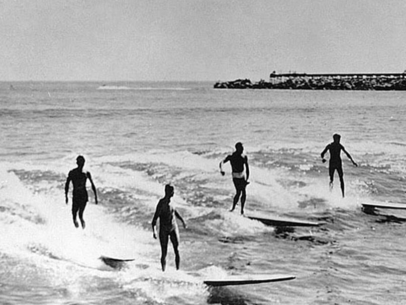 первые серферы, доска, волна, Гавайи