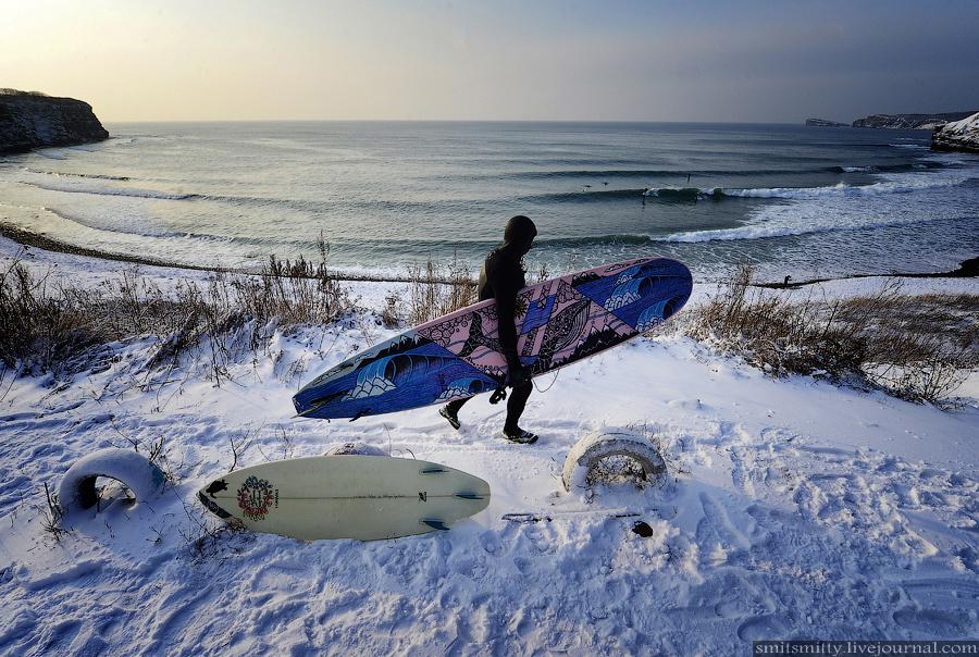 зимний серфинг, доска. ветер, владивосток