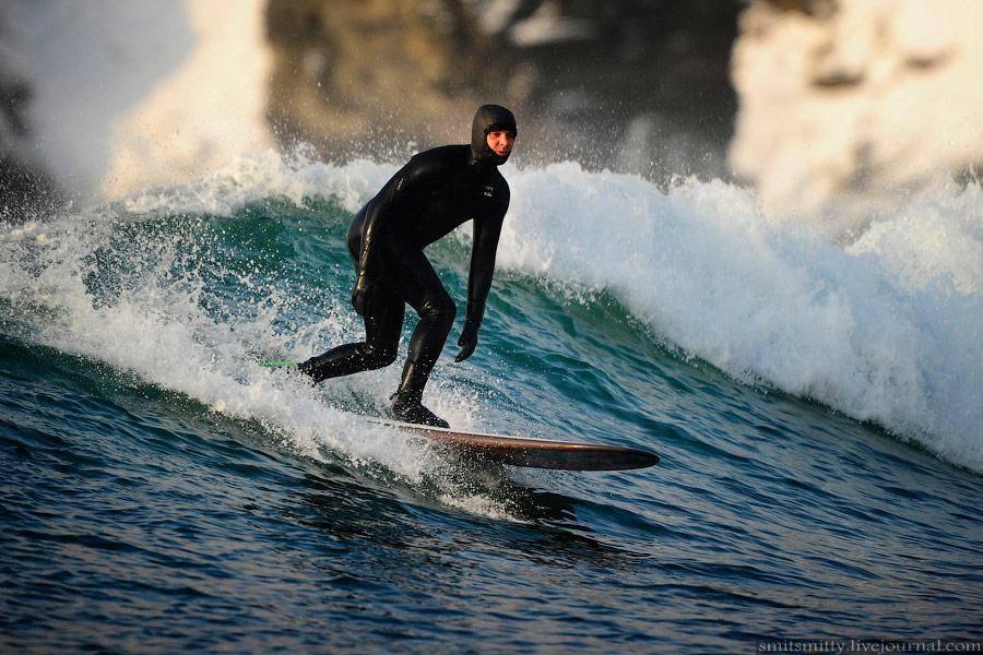 серфинг, зимний, волна, доска, ветер. россия
