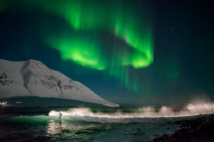 исландия, серфинг, ветер, волна, экстрим
