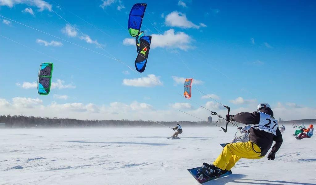 сноукайтинг, ветер, снег, кайт, лёд, лыжи, сноуборд