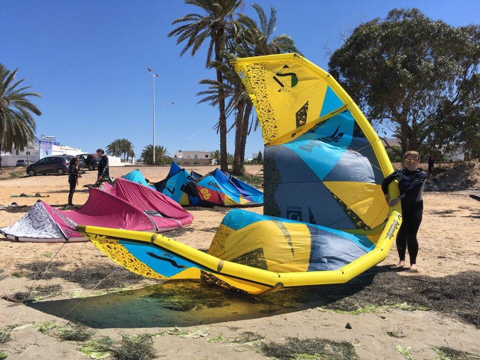 кайтсерфинг, тунис, кайт, доска, ветер, море, волна