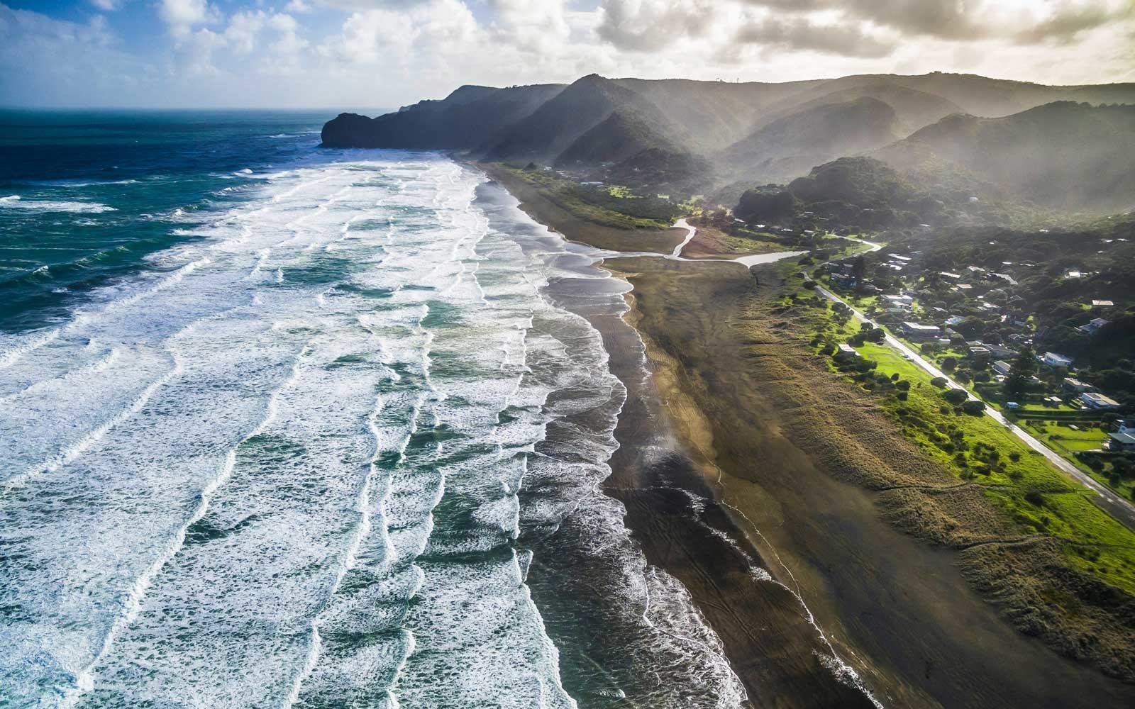 серфинг, новая зеландия, пляжи, ветер, море, волна,