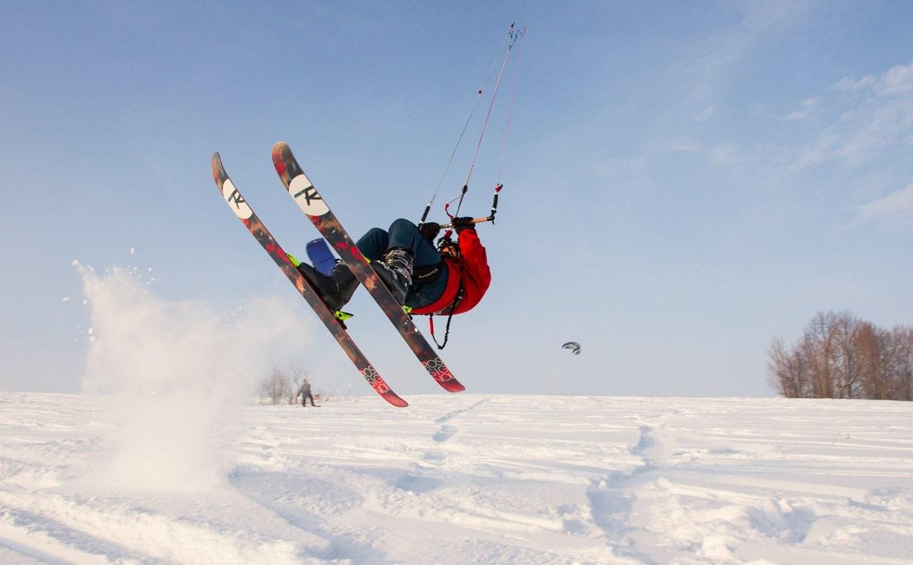 сноукайт, снег, лыжи, змей