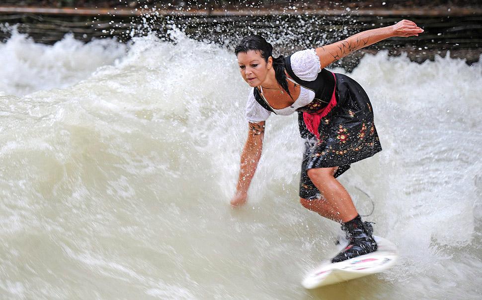 серфинг, доска, река, мюнхен, волна
