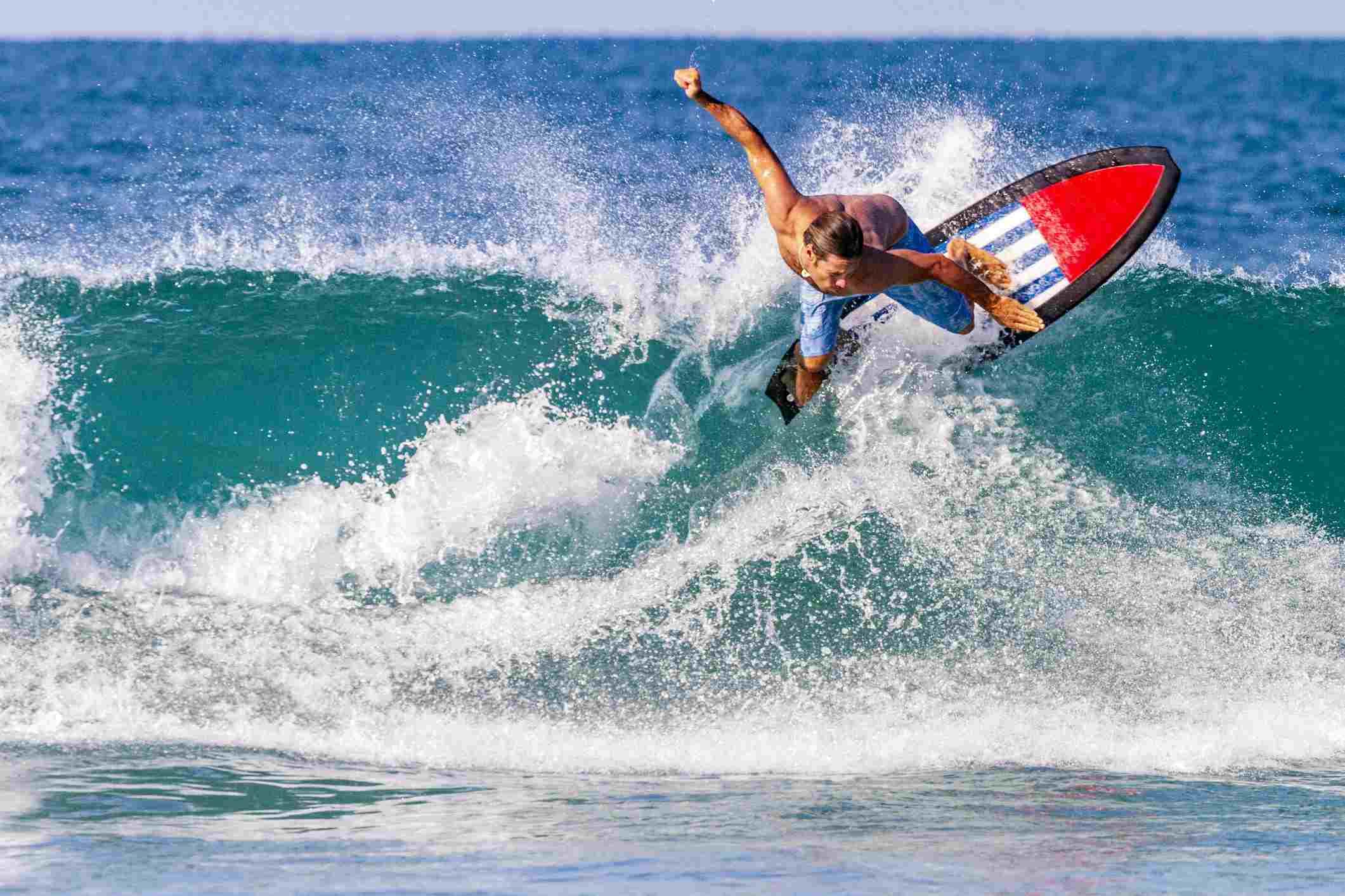 серфинг, волна, доска, море, ветер, песок